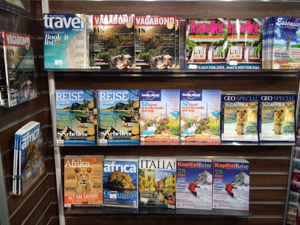 Reiseblader i hyllene på Narvesen Continental